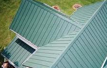 aerial view of a green metal roof